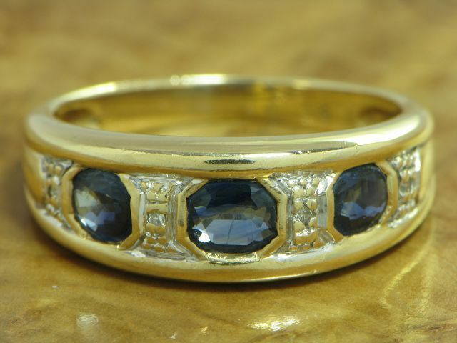14kt 585 gold yellowgold RING MIT SAPHIR & DIAMANT BESATZ SAPHIRRING DIAMANTRING