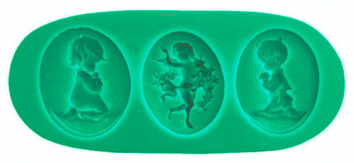 Angel Praying Boy and Girl 3 Cavity Silicone Mold for Fondant Chocolate Crafts