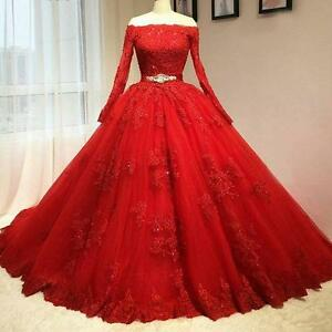 Red-Wedding-dress-Quinceanera-Pageant-Ball-Gown-Prom-Party-Formal-dress-Custom