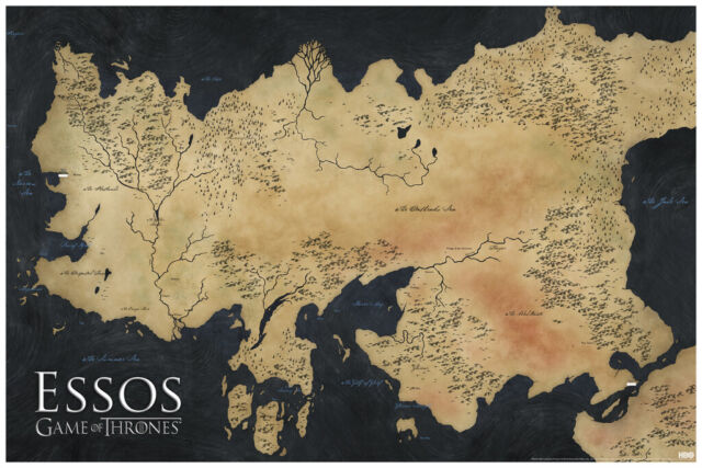 Game Of Thrones Map Of Essos Tv Show Poster 36x24 Inch Poster 12x18