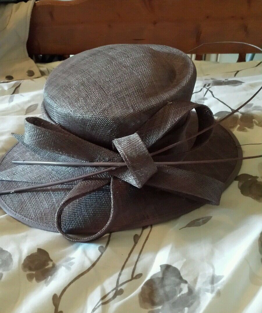Hat studio mother of the bride taupe hat