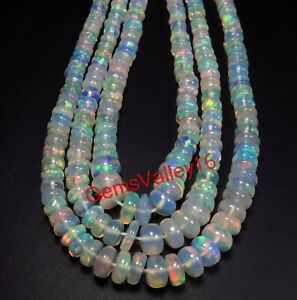 Natural Smooth 15 2 Strand Ethiopian Opal Rondelle Beads 4-8mm Gemstone Beads