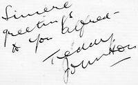 VINTAGE AUTOGRAPH SINGER TEDDY JOHNSON HAND SIGNED INK ALBUM PAGE 1951