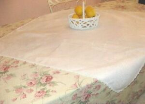 Antiques Antique Linen Romance Fleur De Lis Damask Vintage Monogram Gorgeous Tablecloth Delicacies Loved By All