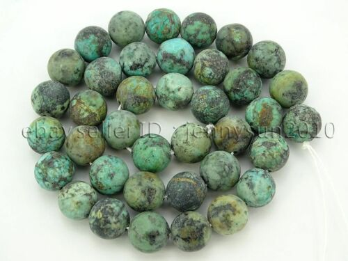 Natural Matte African Turquoise Gemstone Round Beads 15.5/'/' 4mm 6mm 8mm 10mm