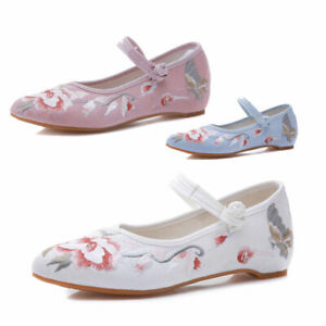 Women Mary Jane Floral Flat Shoes Chinese Traditional Cloth Shoe Comfort Casual