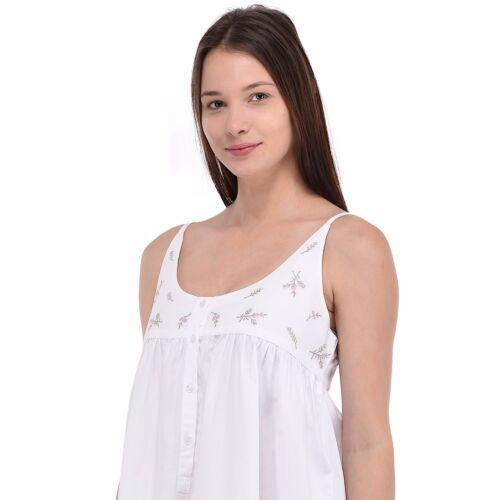 brodé Chemise pour taille de grande en de blanc nuit coton femmes BrqXwTvnrx
