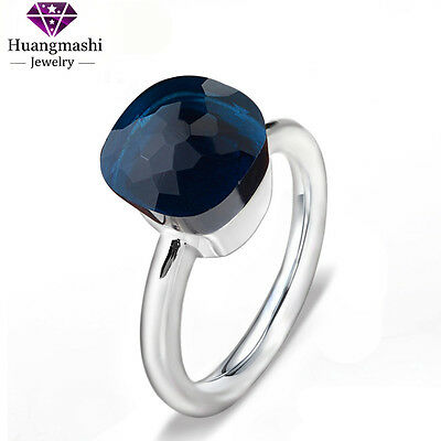 Hot sale 925 Sterling Silver Jewelry Love Ring Nice Dark Blue Crystal Ring PR040