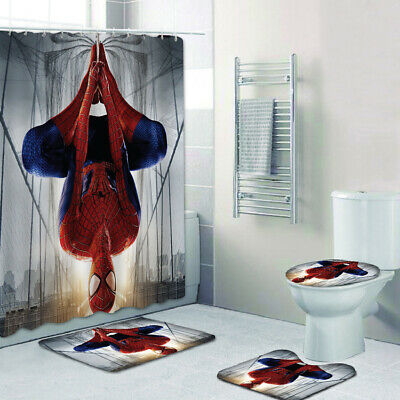 Spider-man 4PCS Bathroom Shower Curtain Floor Mat Non-Slip Toilet Lid Cover Deco