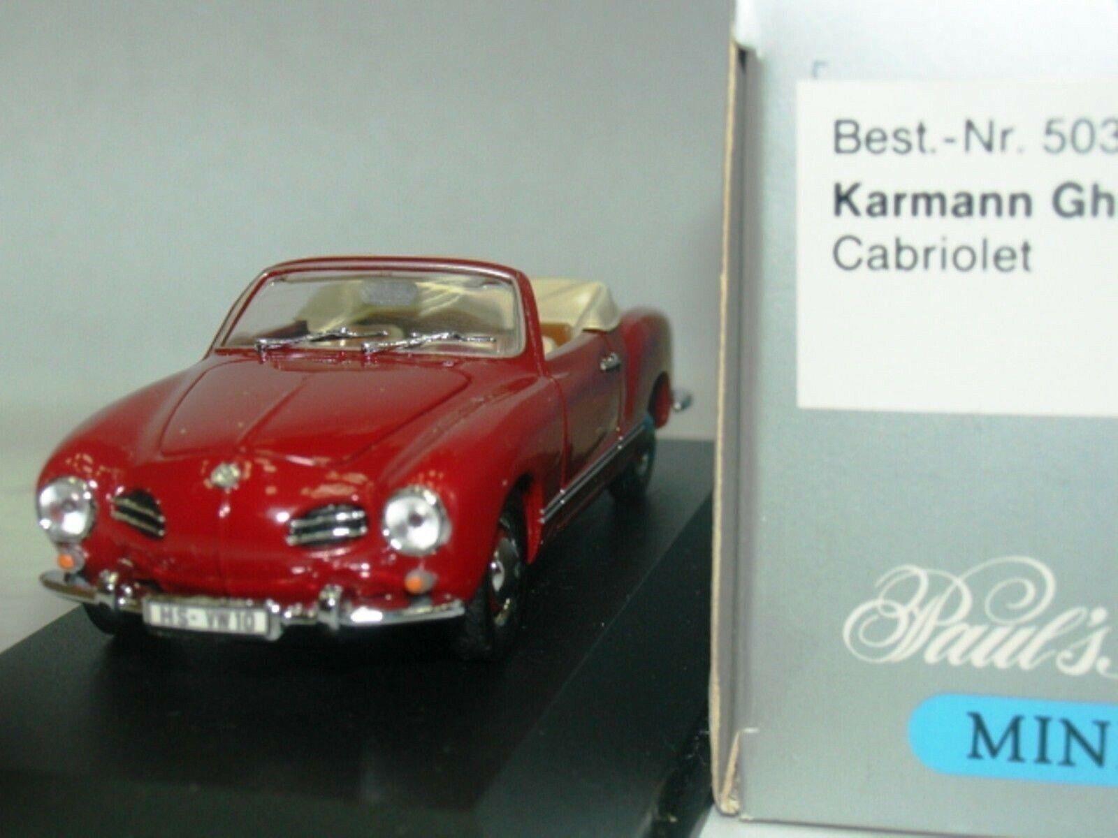 WOW estremamente raro VW Karmann Ghia T141 cabriiolet 1957 IND rojo 1 43 Minichamps