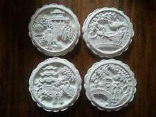 Juego de 4 Oriental Chino Escena Yeso arquitectónico Decoración De Pared Colgante placas