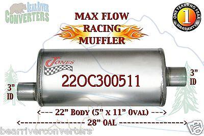 "22OC300511 Max Flow Muffler 22"" Oval Body 3"" Pipe Offset/Center 28"" OAL"