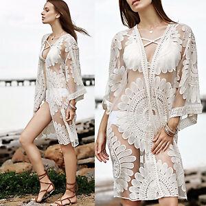 847681fd9e Women Summer Beach Sarong Shirt Maxi Dress Swimwear Bikini Cover Up ...