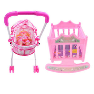 Baby Doll with Stroller Buggy and Baby Bed Cradle Girls Play Toy Foldable Pink