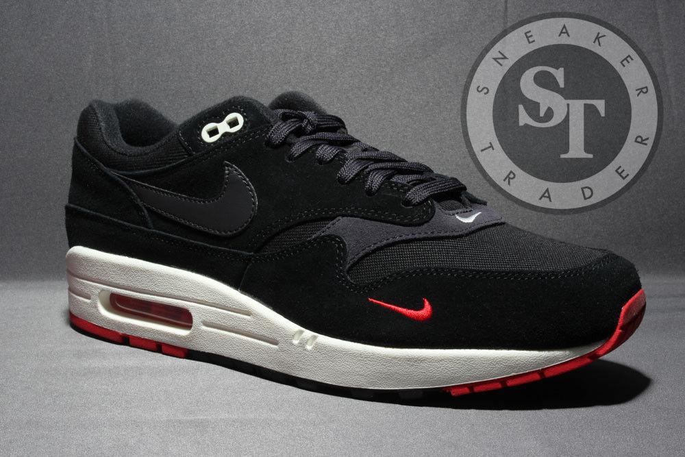 Nike air max 1 premium 875844-007 gezüchtet, schwarze graurote graurote schwarze ds - größe: 10,5 6a98f3