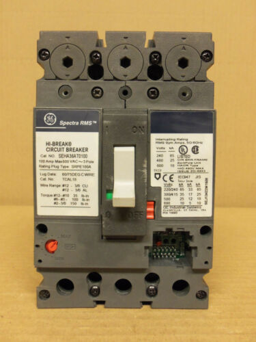 GE GENERAL ELECTRIC SEHA 3 pole 100 amp 600v SEHA36AT0100 Circuit Breaker