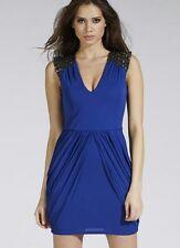 BNWT  * Lipsy * Size 8,  Cobalt Blue Dress, Embellished Shoulder,drape skirt,£70