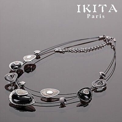 Luxus Statement Halskette IKITA Paris Collier Kette Emaille Glas  Rosa