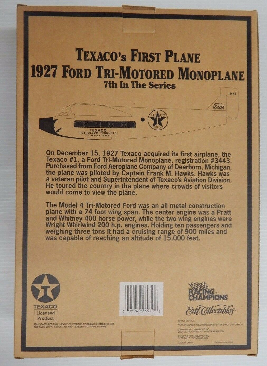 Wings of Texaco Texaco Texaco Collector's 1927 FORD TRI-MOTORED MONOPLANE 7th In Series - New b56fdc