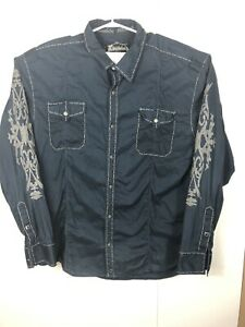 Buckle-Black-Label-Mens-XXL-Black-Embroidered-Athletic-Fit-Button-Down-Shirt-S-S