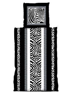 2-tlg-Bettwaesche-135-x-200-cm-Zebra-schwarz-weiss-Microfaser-Garnitur