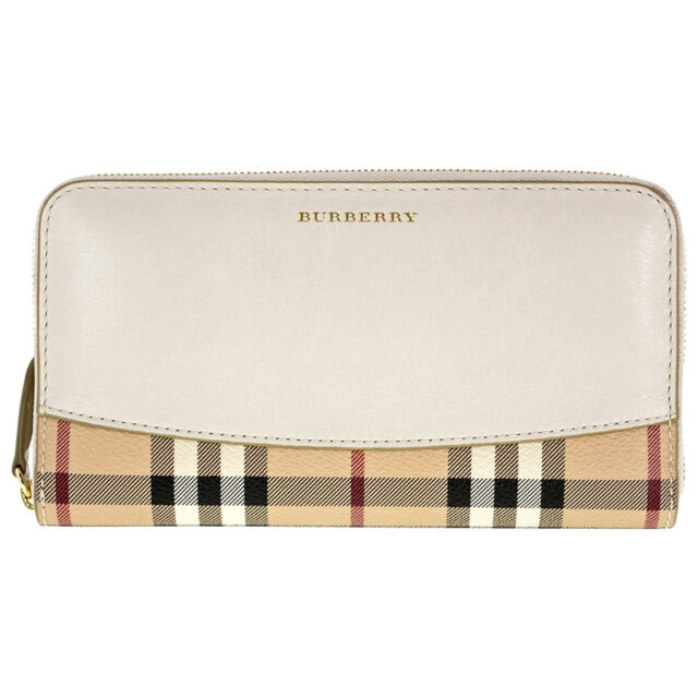 Burberry Elmore Haymarket Check and Ivory Leather Zip Around Long Wallet 3962714