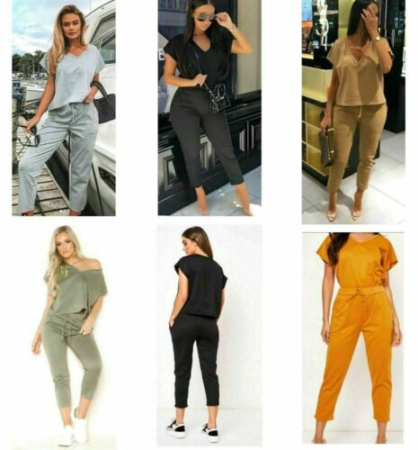 Ladies Womens v neck short sleeve baggy comfy loungewear 2 pc top bottoms suit