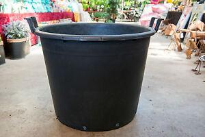 65cm-Outdoor-Garden-Patio-Round-Black-Plastic-Plant-Pot-Tub-Handles