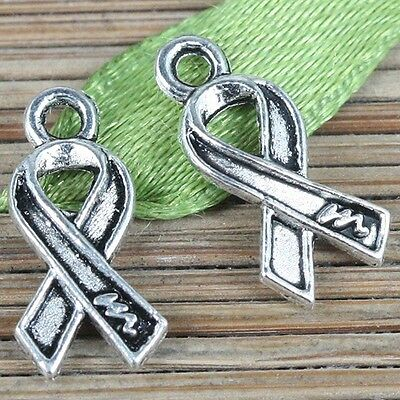 90pcs tibetan silver cancer awareness ribbon design charms EF0261