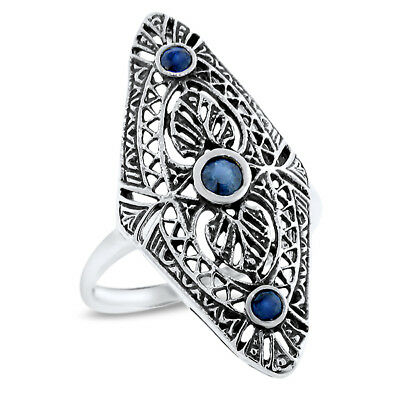 #1093 ART DECO GENUINE SAPPHIRE 925 STERLING SILVER ANTIQUE STYLE RING SIZE 6