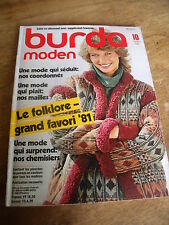 MAGAZINE BURDA VINTAGE LE FOLKLORE GRAND FAVORI '81 CHEMISIRS EN VOGUE  1981
