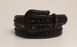Nocona-Women-039-s-Studded-Black-Snake-Print-Leather-Belt-N3410201