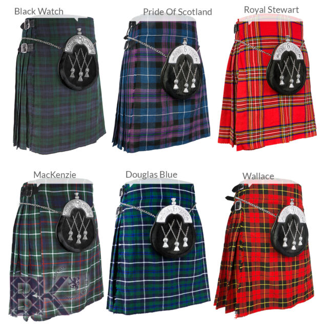 "Traditional Mens 5 Yard Scottish Kilt, Various Tartans Choices, Sizes 30""-48"""