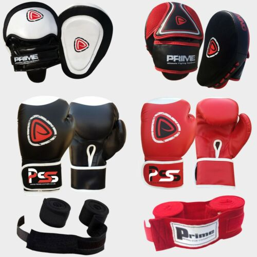 Prime Boxing gloves + focus pads + hand wraps fight punch machine moulded foam