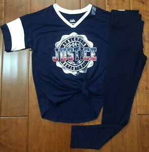 NWT JUSTICE GIRLS 14 OUTFIT~GLITTER LOGO TEE //TIE DYE LEGGINGS