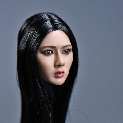 YMTOYS 1//6 Asia Girl Model Long Black Hair Head Sculpt A For 12/'/' Female Body