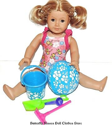 Pink Beach Bucket Play Set 4PC 18 in American Girl Doll Clothes Accessory