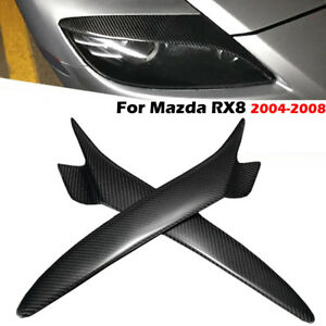 Carbon-Fiber-Painted-Eyebrows-Headlight-Eyelids-Cover-For-Mazda-Rx8-2004-2008