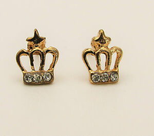 Image Is Loading Small Cute Gold Plated Crystal Crown Earrings Princess