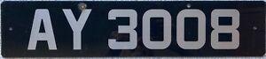 Alderney Channel Island UK Car Number License Licence Plate AY 3008