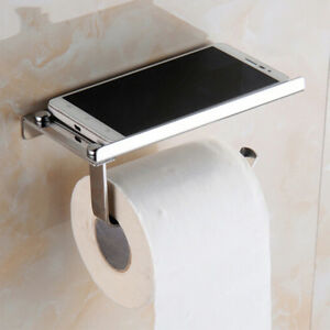 Stainless Steel Toilet Phone Roll Paper Holder Storage Wall Mounted Silver Home