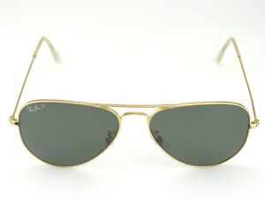 a0d91f0936e RAY-BAN Sunglasses Aviator Gold Frame Polarized Green Lenses RB3025 ...