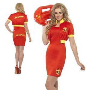 Ladies-Baywatch-Fancy-Dress-Costume-Beach-Lifeguard-1980s-90s-Womens-S-L