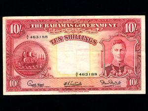 Bahamas-P-10d-10-Shillings-1936-King-George-VI-VF