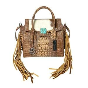 Raviani-Fringe-Satchel-Brown-Croco-amp-Hair-on-Leather-W-Turquoise-Stone-Concho