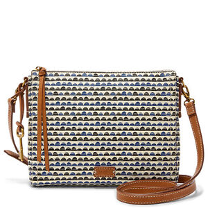 8f25bb37c8a5 Fossil Women's Emma EW Crossbody Blue Print Bag ZB7134469 | eBay