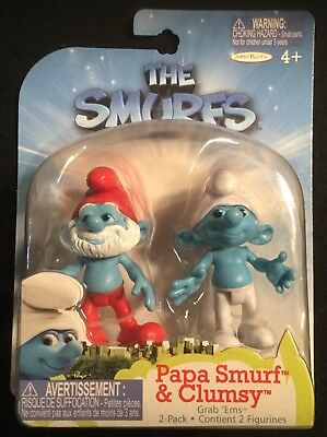 New PAPA SMURF /& CLUMSY GRAB EMS 2 Pack Toy Figure 3 INCH FROM The Smurfs Movie