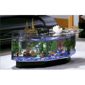 Unique Coffee Table Aquarium 28 Gallon Fish Tank Hexagon Solid Glass