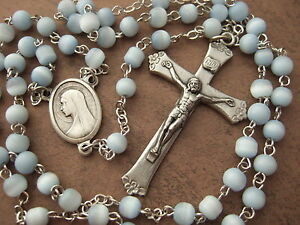 Catholic-Rosary-5mm-soft-light-blue-glass-beads-lovely-Crucifix-amp-center-medal