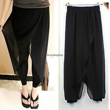 3XL Hot Womens Chiffon Stitching Casual Harem Slacks Slim Lantern Dress Pants